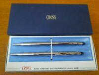 Vintage CROSS 3501 Chrome Pen & Pencil Set in Box 1975