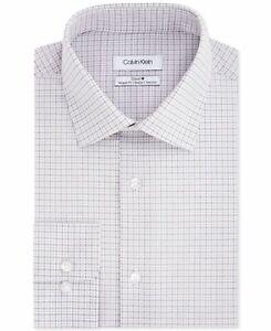 Calvin Klein Mens Dress Shirt Gray Size 17 1/2 Regular Non-Iron $79  037