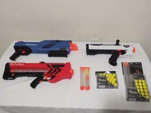 NERF Gun Lot Rival Helios XVIII-700, Atlas XVI-1200, MXV-1200 ZEUS + Rounds, etc