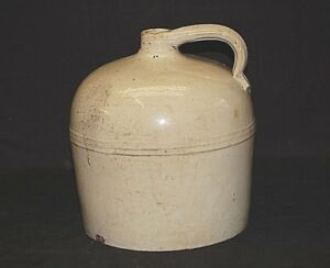 Old Vintage Large Antique Whiskey Jug Stoneware Crock Primitive Country Farm
