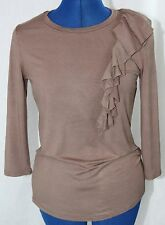 Adrienne Vittadini Brown Knit Top Ruffled Shirt Stretch Blouse Women's Small S