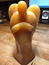 Orange Calcite Crystal Gemstone Large Artisan Hand Carved Angel Figurine 001