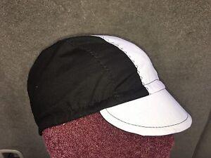 CYCLING CAP ONE SIZE COLOR BLACK & WHITE   100% COTTON