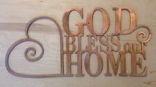 God Bless Our Home Wall Art Hanging in Rustic Copper Patina