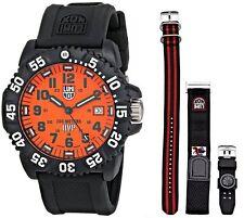 Luminox Scott Cassell Orange Dial Black Polyurethane Watch 3059.SET New