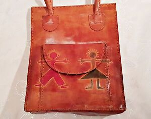 VINTAGE AUTHENTIC TRIBAL ART RED BROWN PATENT LEATHER WOMEN'S HANDBAG