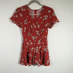 Ally womens playsuit romper size 8 red floral short sleeve V neck rayon zip