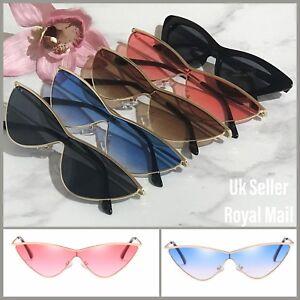 Cat Eye Triangle Small Cateye Fashion Sunglasses 90s Vintage Retro Sunglasses-UK