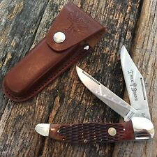 BOKER GERMANY TREE BRAND FOLDING HUNTER KNIFE BROWN JIG BONE w SHEATH 110273BB