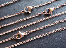 10 Stainless Steel Cable Chain Necklaces, Rose Gold - 17.5 Inches x 2mm