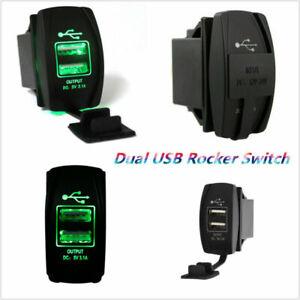 ARB Rocker Switch Carling Backlit Dual Green LED 12V-24V Car Boat USB Charger