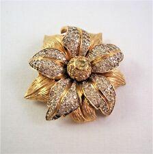 Vintage Signed NETTIE ROSENSTEIN Flower Blossom Pin Clear Crystal Goldtone Metal
