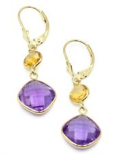 Round Citrine & Cushion Amenthyst Dangle Earrings,14K Yellow Gold Leverbacks