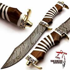 Custom Handmade Damascus Steel Hunting Knife– Real Camel Bone Handle Bowie Knife