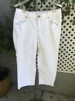 LANE BRYANT White Denim Cropped Flare Capri Stretch Jeans Plus Sz 14