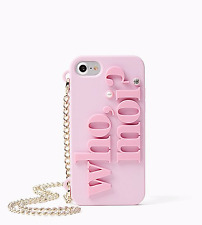 NIB KATE SPADE Who Moi? Miss Piggy Pink iPhone 7 & 7s Case with Gold Chain