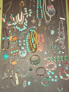 Huge Vintage To New Turquoise/ Red Coral Fashion Jewelry Lot