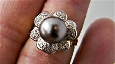 Luxurious !!! 14K Yellow Gold Ring w 10mm Tahitian Pearl & Diamonds, sz 7