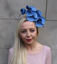 Royal Blue Orchid Feather Flower Fascinator Headband Headpiece Races Hair 6672