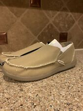 Men's CROCS Original  Santa Cruz KHAKI Size 11 Canvas Slip On Shoes