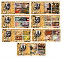 2013 GUSTAV KLIMT PAINTINGS ART 7 SOUVENIR SHEETS MNH UNPERFORATED