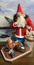 paper mache Santa, antique German head doll, modified, toys, tree
