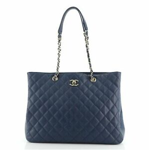 Chanel Classic CC Shopping Tote Quilted Caviar Large
