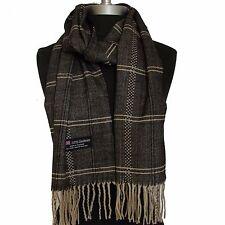 New 100% Cashmere Scarf Black/Beige Twill Check Plaid Wool Soft Unisex (#G01)v4