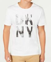 DKNY Mens T-Shirt Classic White Size 2XL Stacked Graphic Logo Tee $39 355