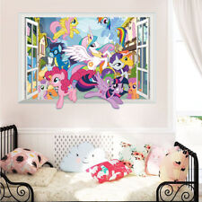 3D Window My Little Pony Cartoon Wall Sticker Decal for Kid Child Room Decor