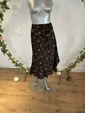 Simply Be Skirt Size 12 & 22 Midi Wrap Front Black Orange Floral Skirt GE48 New