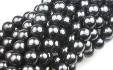 75 Black Czech Glass Round Pearl Beads 8MM