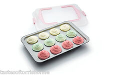 Kitchen Craft Non Stick 12 Hole Muffin / Cup Cake, Cover & Carry Baking Tray Tin