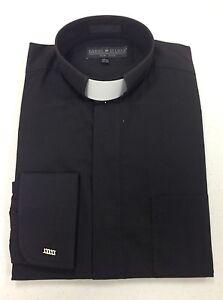 *ALL SIZES* Men's Clerical Clergy Preacher Tab Collar Shirt Black Long Sleeves