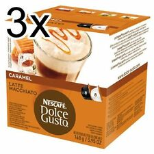 Dolce Gusto Latte Machiato Caramelo (3 Cajas, Total 48 cápsulas) 24 porciones
