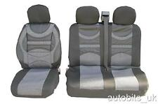 PREMIUM COMFORT PADDED FABRIC GREY BLACK SEAT COVERS FOR VW TRANSPORTER T5 2+1