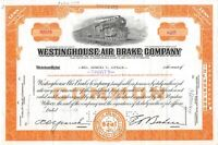 Westinghouse Air Brake Company Common Stock Certificate Railroad Locomotive