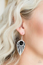 Paparazzi jewelry polished black bead silver teardrop earrings nwt
