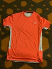 New Balance Nb Ice Mens Ss Running Workout Shirt Orange/White Sz M Poly Spandex