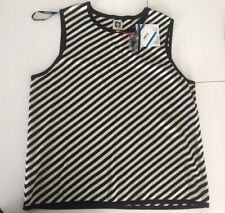 Anne Klein Women's Striped Black And White Knitted Sleeveless Top XL
