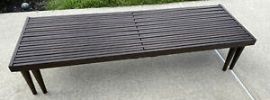 Mid Century Modern Expandable Wood Slat Coffee Tab Bench Style Of Keal