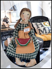 """*Primitive` Handmade *The Farmers Daughter Doll` Holding Watermelon`"""" 19 inch"""