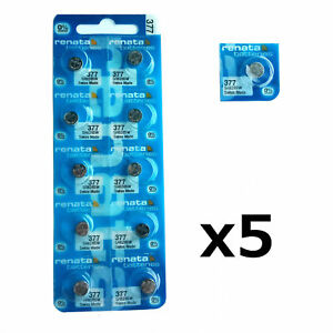 5 x Renata 377 1.55v Watch Cell Batteries Battery SR626SW Mercury Free