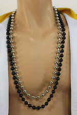 New Men Necklace Black Silver Metal Balls Chain Long Fashion Hip Hop Jewelry