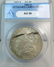 1889 Morgan dollar ANACS AU58 *detached obverse lamination*