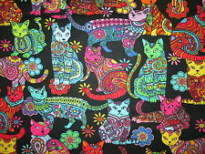 MOD CATS ART DETAILED FLOWERS CAT BRIGHT COLORS COTTON FABRIC BTHY