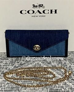 NEW Coach C3317 Slim Envelope Wallet With Chain In Denim and Leather