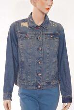 Tommy Hilfiger Womens Blue Denim Distressed Jeanne Vintage Jacket Large