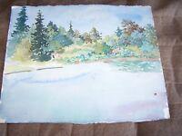 "Original Watercolor By Peg Humphreys, Lake Scene 11.25""x13.5"""