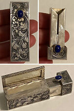 Vintage Ornate 800 Silver Lipstick Compact Case w/Mirror & Blue Gemstone Italy
